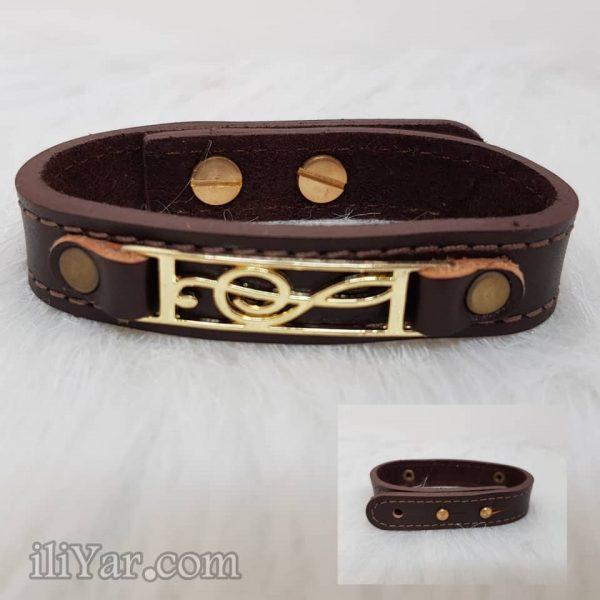 دستبند چرم طرح ملودی شیک